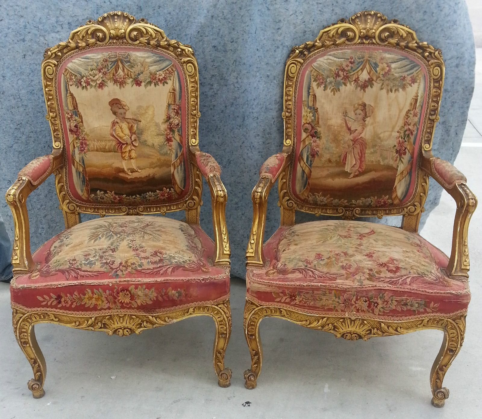 Best French Aubusson Tapestry Arm Chairs Antique French 640 x 480