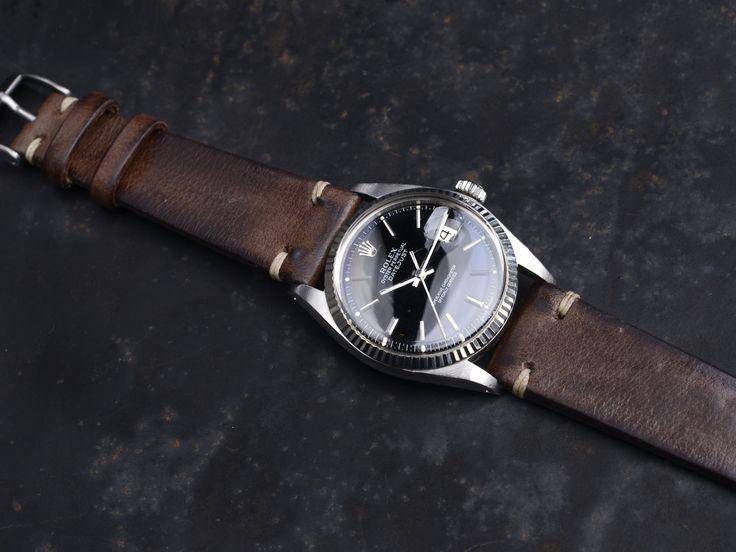 Rolex Datejust Blue Dial Leather Strap