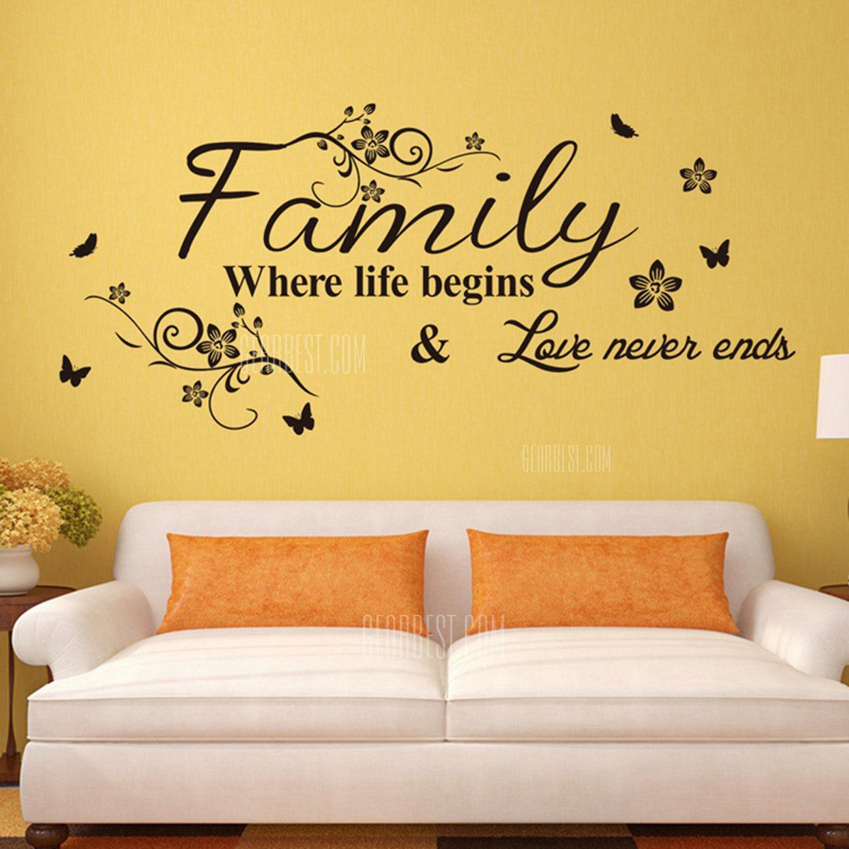 Family English Word Pattern Home Appliances Decoration Wall Sticker ...