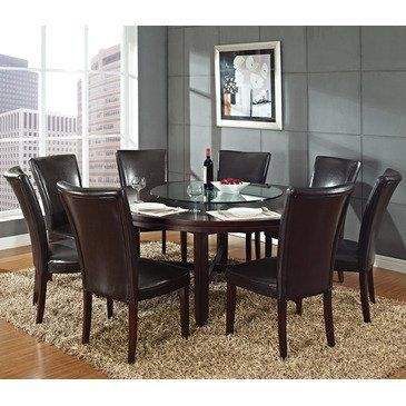 Steve Silver Hartford 9 Piece Round Dining Room Set W Brown Chairs
