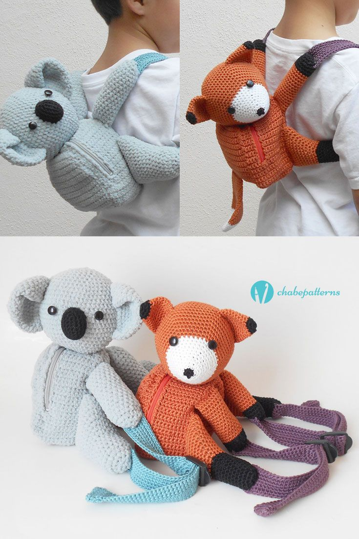 Koala and fox backpacks pattern by Maria Isabel | crochet toys ...