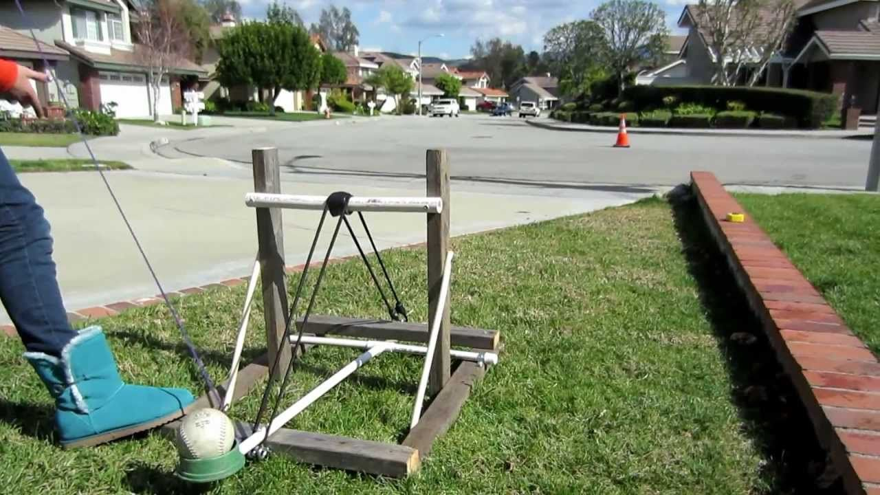 Easy to make softball Catapult from an old 2x4, PVC pipe
