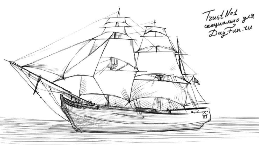 Segelschiff bleistiftzeichnung  How to draw a sailing boat step by step 5   Maybe   Pinterest