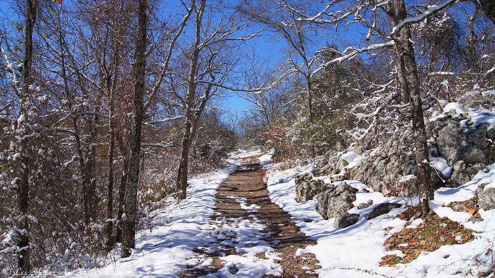 West Mountain Sunset Trail Snow Hot Springs national Park Arkansas