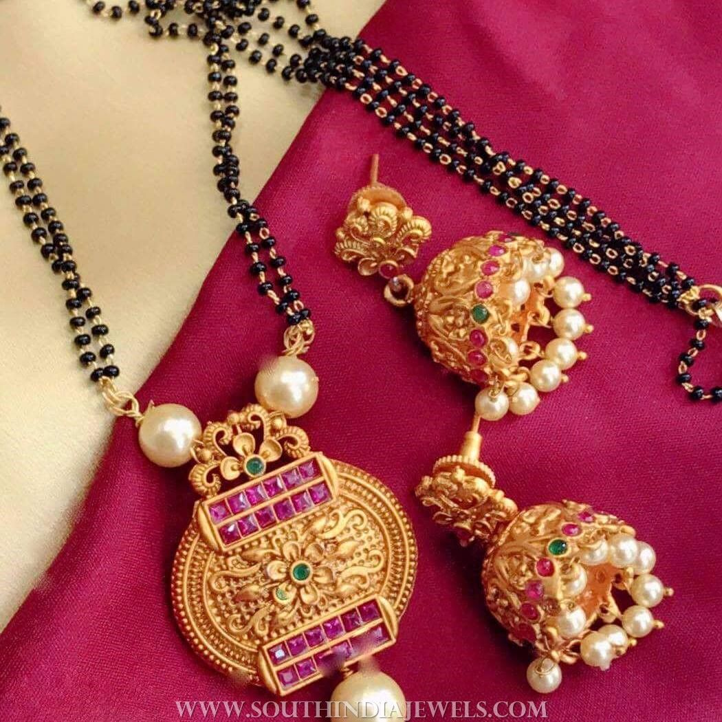 Imitation black beaded mangalsutra set jewellary pinterest