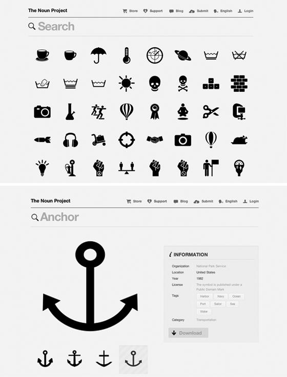 the noun project design, Typography logo