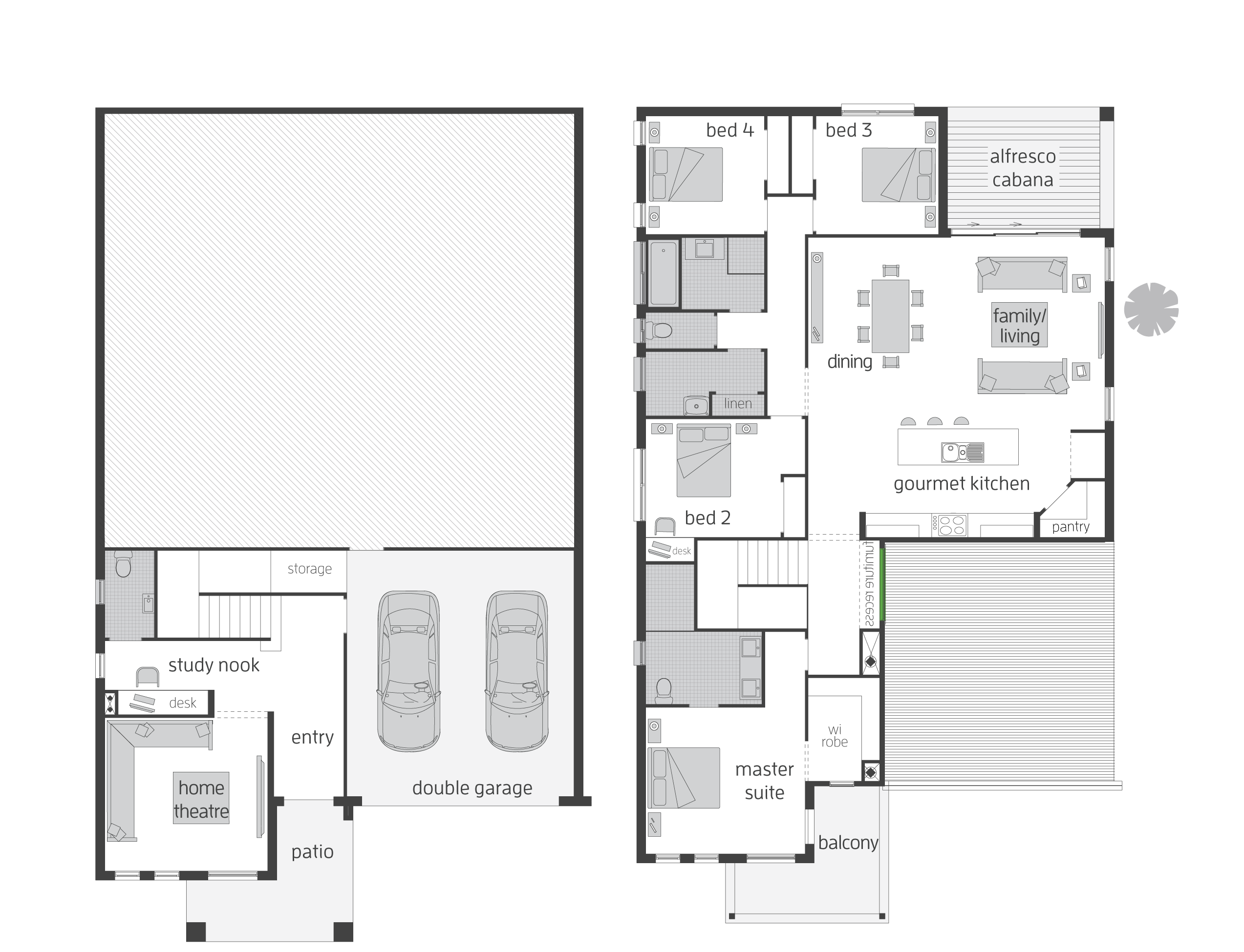 The highlands split level floor plan by mcdonald jones for Split level floor plans