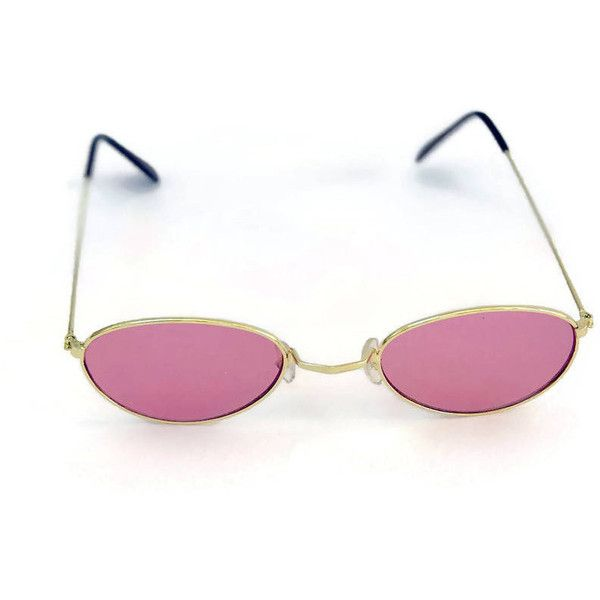 60a7ab107279 90's Sunglasses Oval Round Pink Lens Gold Wire Metal Vintage... ($46 ...