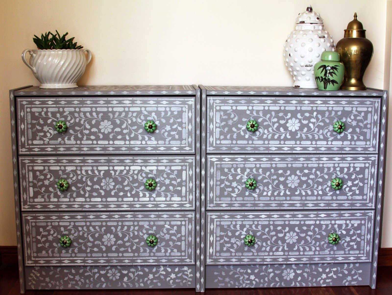 Indian Inlay HowTo Stencil furniture, Ikea dresser, Diy