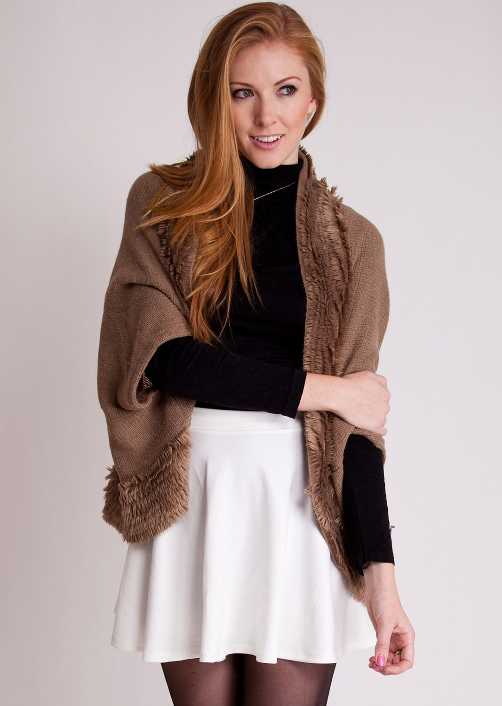Fur-Trimmed Knit Sweater Cardigan