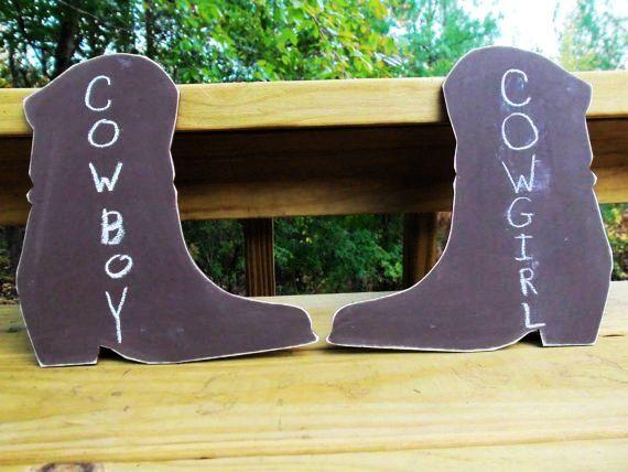Rustic Pair of CHALKBOARD COWBOY BOOTS - Rustic Farmyard Barnyard Beach Outdoors Wedding #2014 #wedding #table #signs