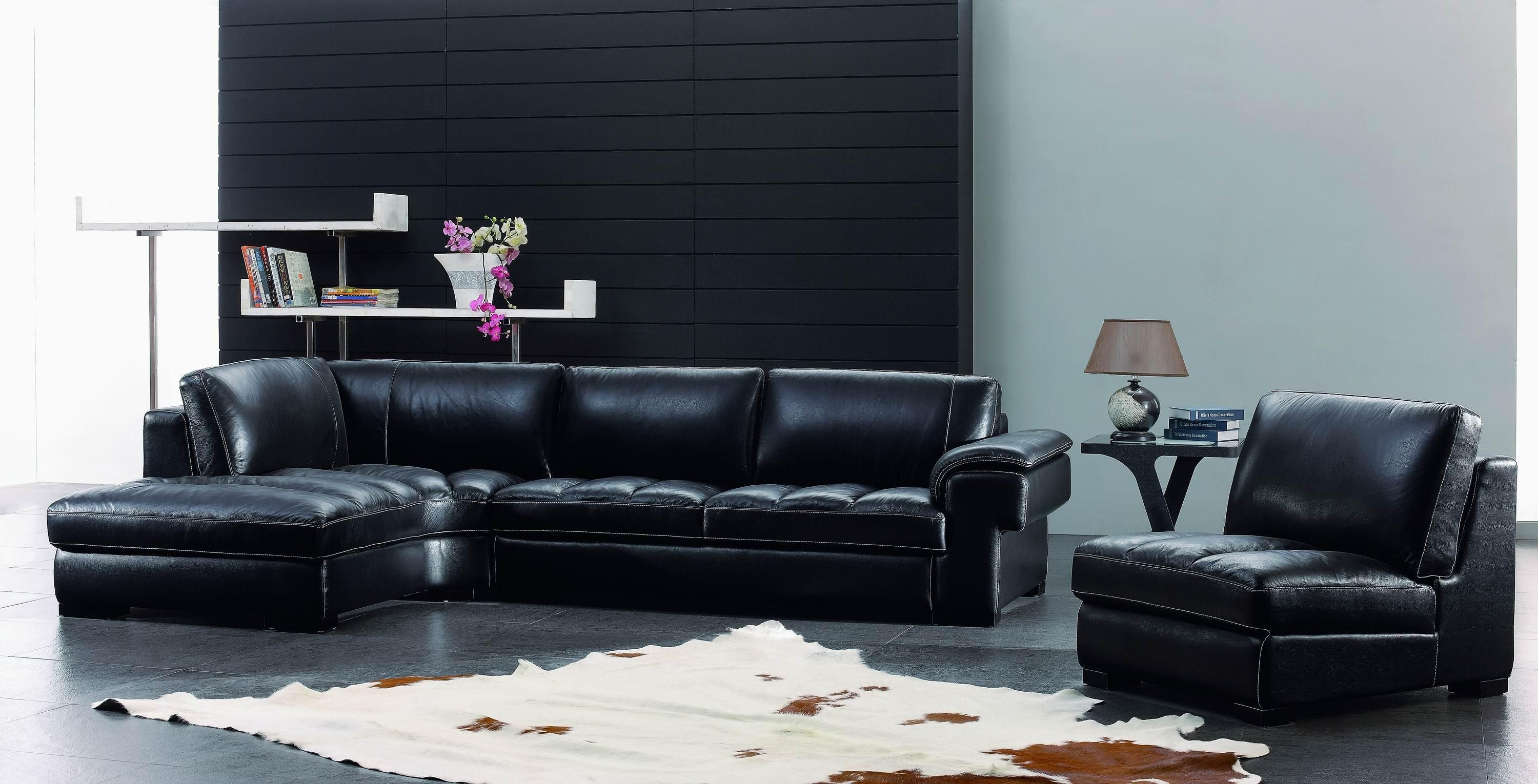 Black Leather Living Room Furniture Set Listed In Modern