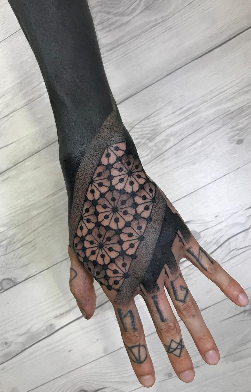Blackout Tattoo Ideas C Tattoo Artist Nissaco Geometric Tattoo Hand Hand Tattoos Solid Black Tattoo