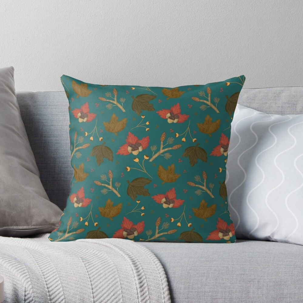 'Fall Leaves | Acorns | Pine Cones | Teal' Throw Pillow by Lisa Geerman Fall Leaves | Acorns | Pine Cones | Teal Throw Pillow | Decorate for the fall and autumn with this seasonal throw pillow with acorns, pine cone branches, and leaves. |