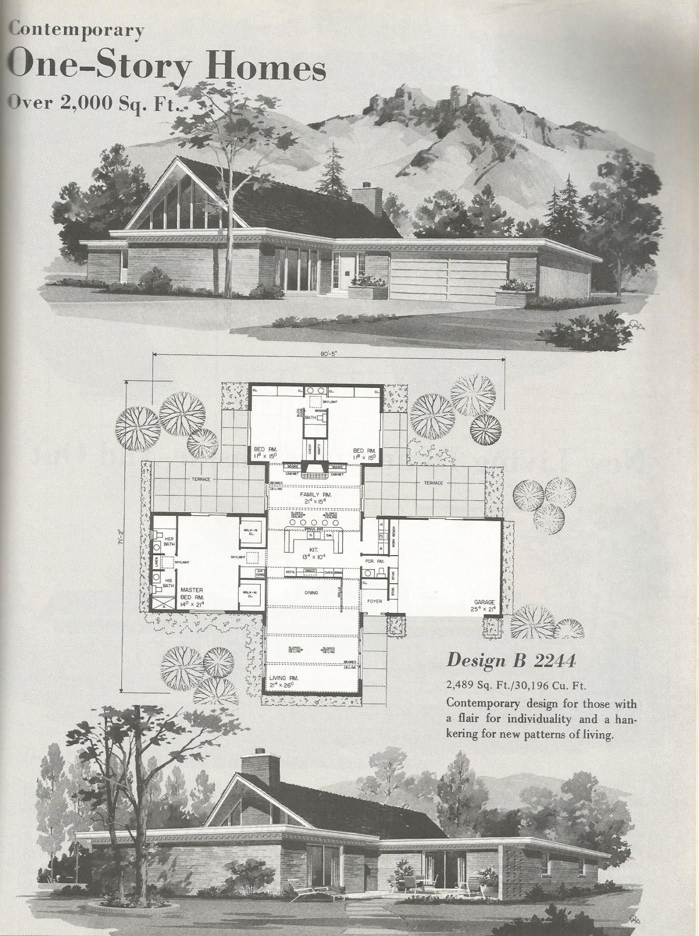 Vintage House Plans Mid Century Homes Large Homes Vintage House Plans Vintage House Modern House Plans