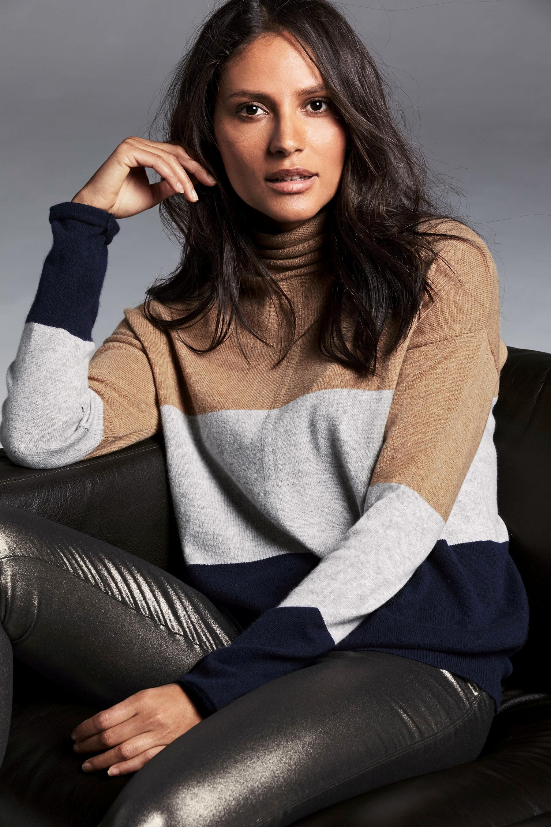 Buy Colourblock Cashmere Blend Roll Neck Sweater from the Next UK online shop