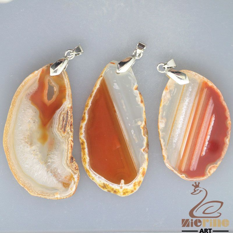 RAW AGATE SLICE PENDANT FOR NECKLACE  LOT 3 PCS GEM ROUGH GEMSTONE GB0000012 #ZL #PENDANT