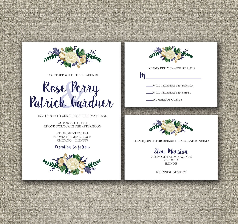 Printable Wedding Invitations, Rustic Floral Country Wedding ...