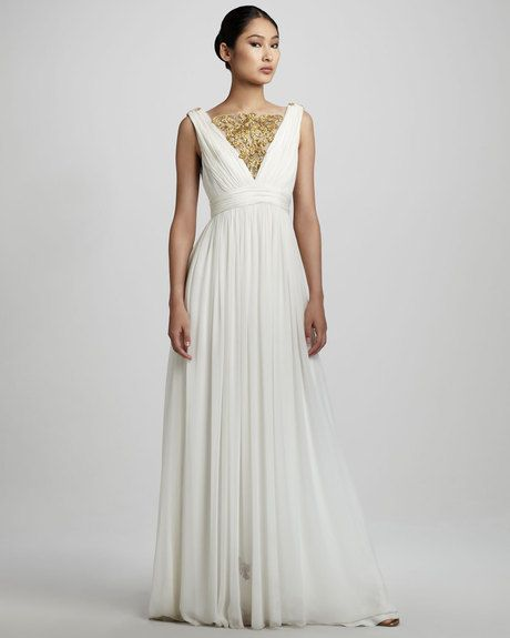 Notte By Marchesa Embroidered Grecian Gown in White - Lyst ...