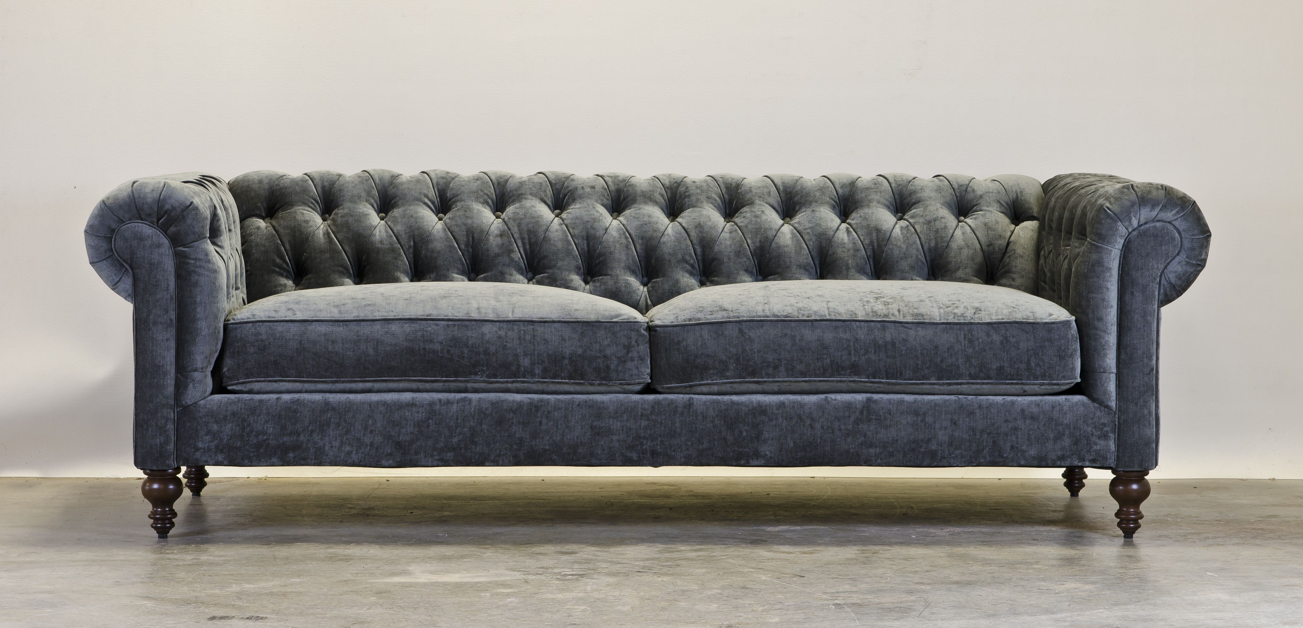 Chesterfield With A Beautful Blue Gray Palm Chenille Fabric