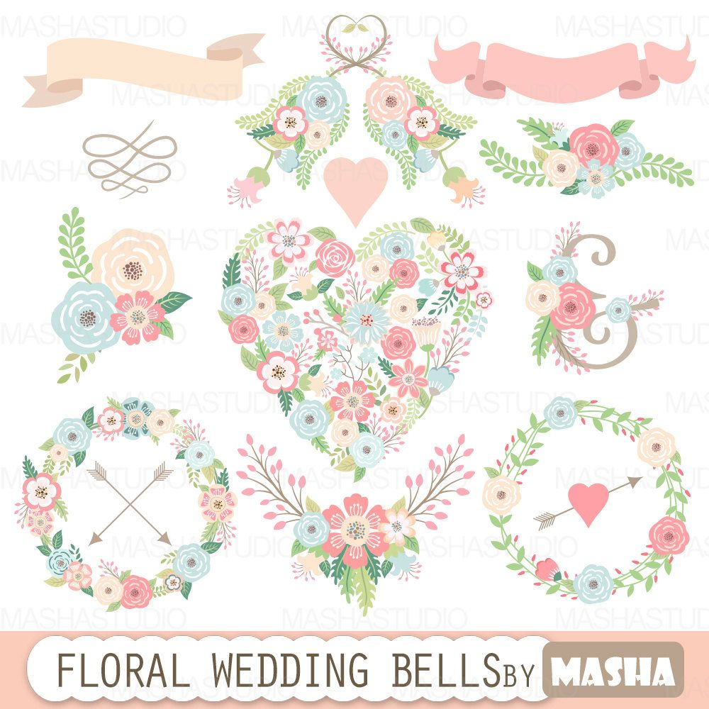 "Clipart Flowers Wedding Invitation Clipart Flowers: Floral Wedding Clipart: ""FLORAL WEDDING BELLS"" With Floral"