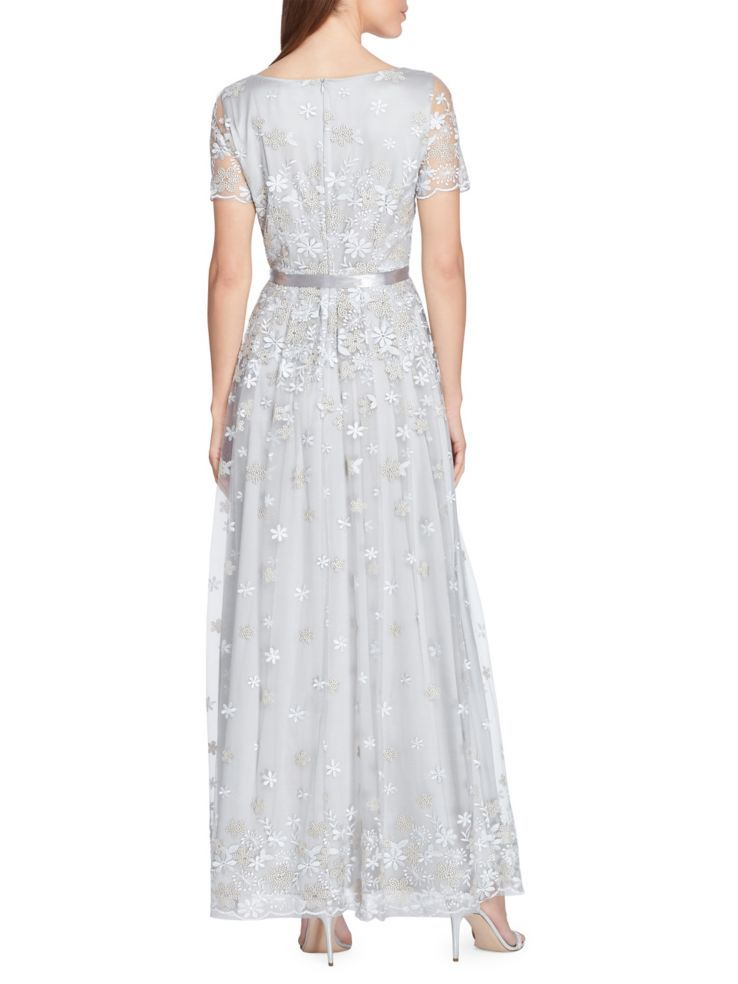 Tahari Arthur S Levine Embroidered Floral Lace Satin Ribbon Gown Lordandtaylor Com Floral Gown Embroidered Gown Review Dresses