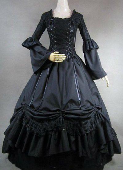 Günstige custom made lange Ärmel ballkleid viktorianischen gothic ...