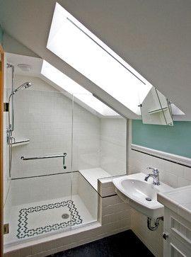 Bathroom In Attic Space Bathroom Built Into Former Attic Space Transitional Bathroom Avec Images Douche Mansarde