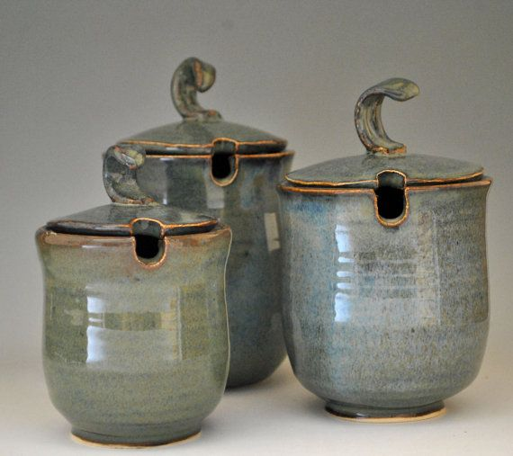 Stoneware Kitchen Canisters (Set of Three) in Green ...
