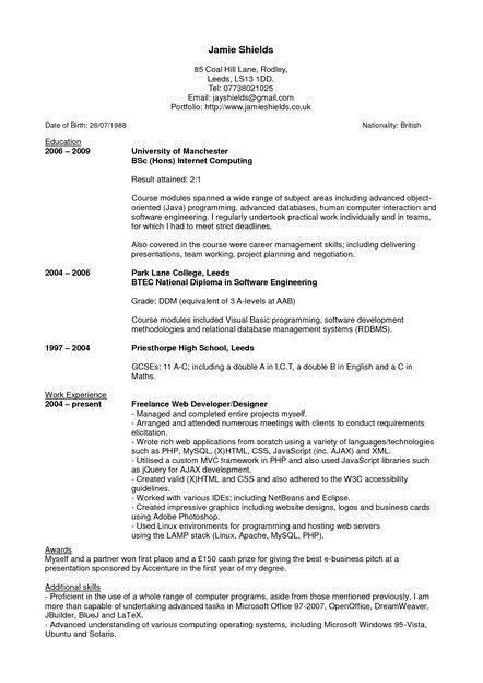 resume latex template harvard