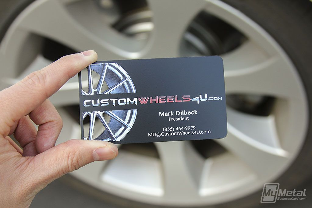 Full color printed black metal business cards customwheels wheels full color printed black metal business cards customwheels wheels tires metalbusinesscards fullcolorprinting fullcolor rims mmbc blackmetal reheart Gallery