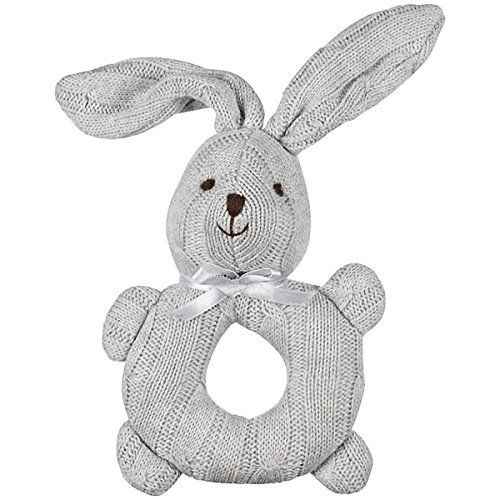 1 X John Lewis Cable Knit Grey Rabbit Bunny Rattle Baby Toy