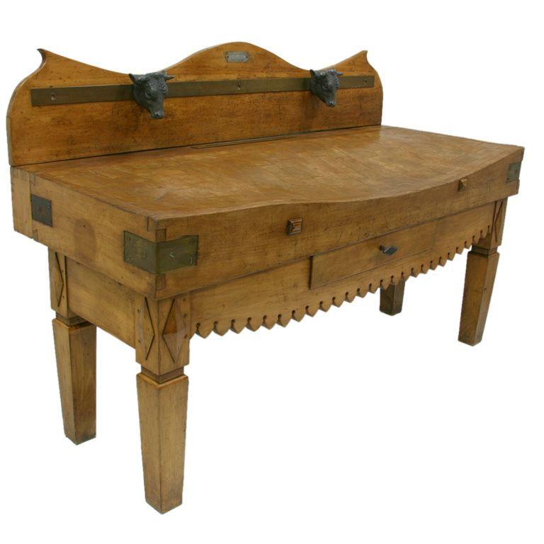 19th Century French Butcher Block Table