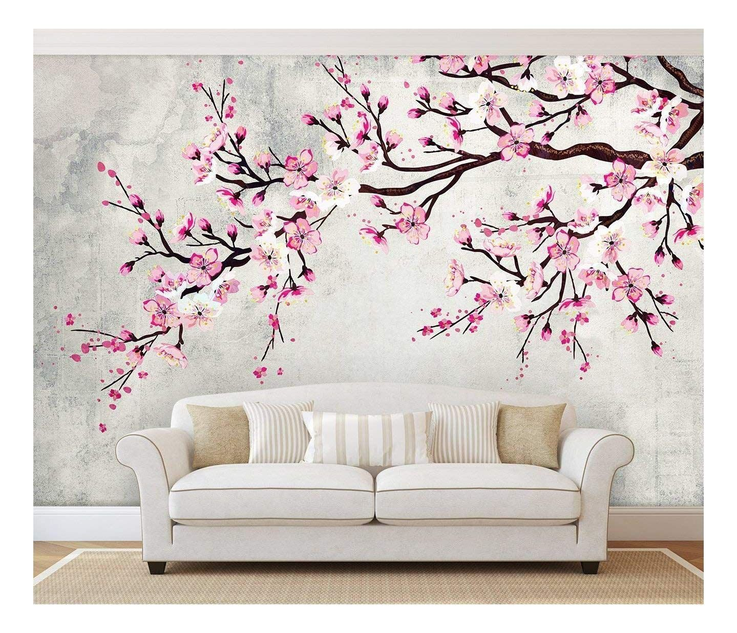 wall26 Large Wall Mural - Watercolor Style Ink Painting Pink Cherry Blossom on Vintage Wall Background   Self-adhesive Vinyl Wallpaper/Removable Modern Wall Decor - 66x96 inches - Walmart.com