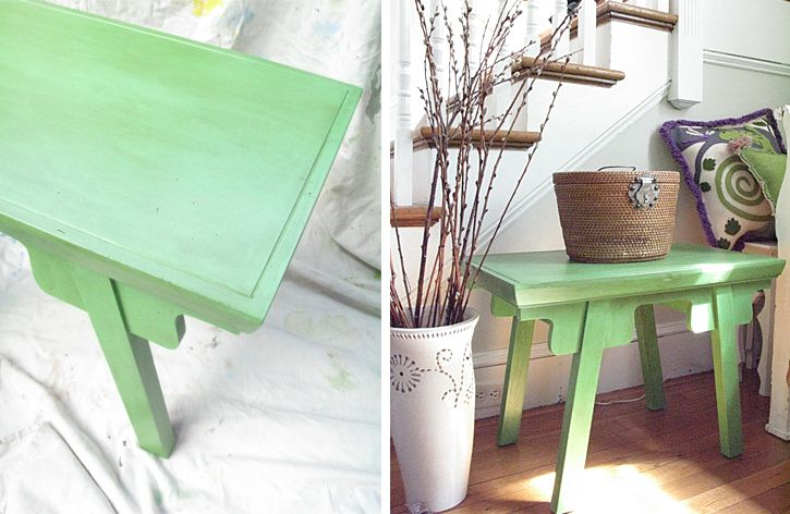 Love my new green table in Annie Sloan Antibes Green!