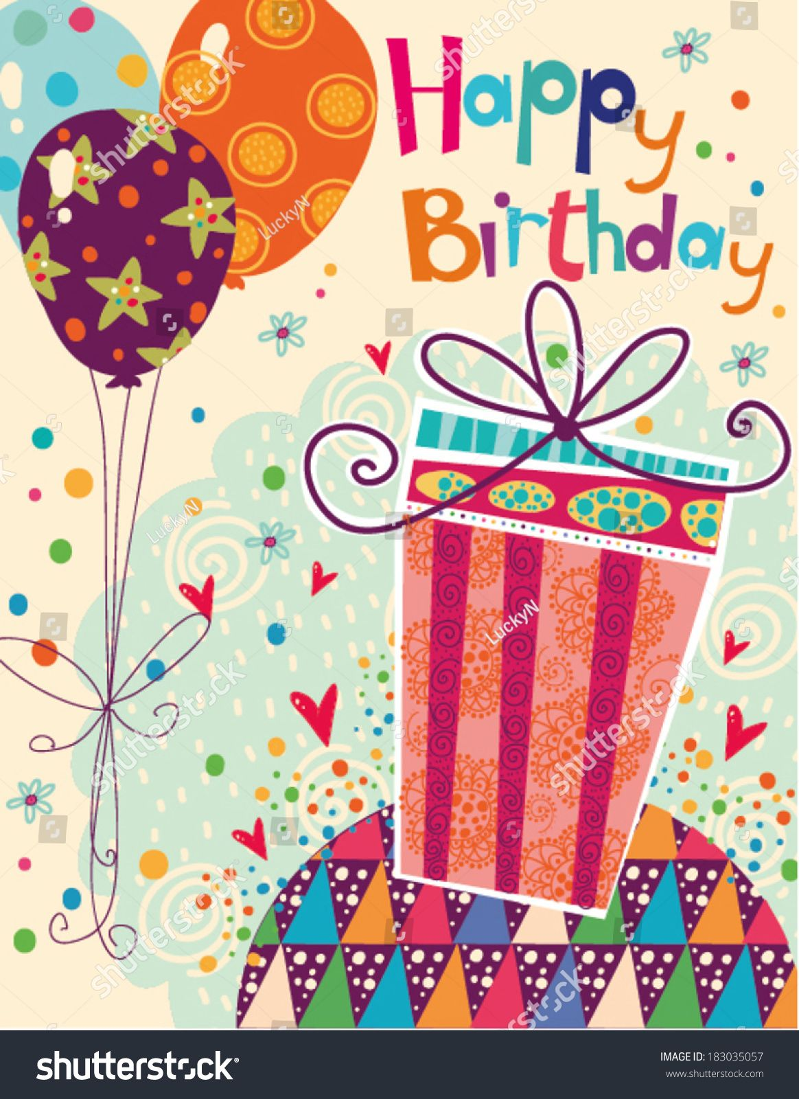 Beautiful Happy Birthday Greeting Card With Gift And Balloons In Bright Colors Vector