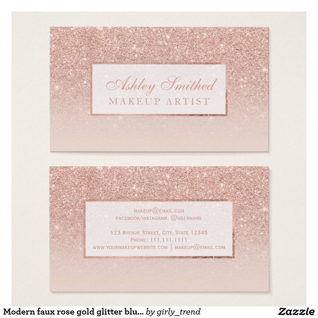 Modern faux rose gold glitter blush ombre makeup business card modern faux rose gold glitter blush ombre makeup business card magicingreecefo Gallery