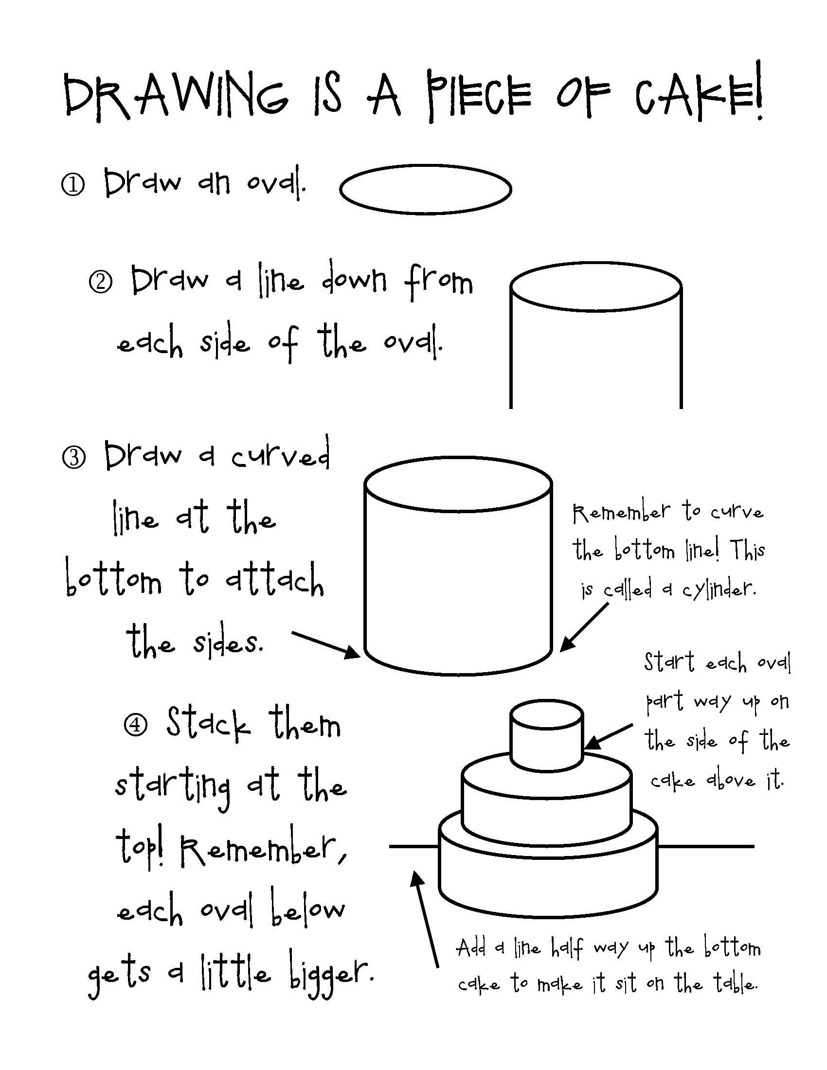 Drawing is a piece of cake! | Thiebaud art lessons | Pinterest ... for Drawing Cake Step Step  579cpg