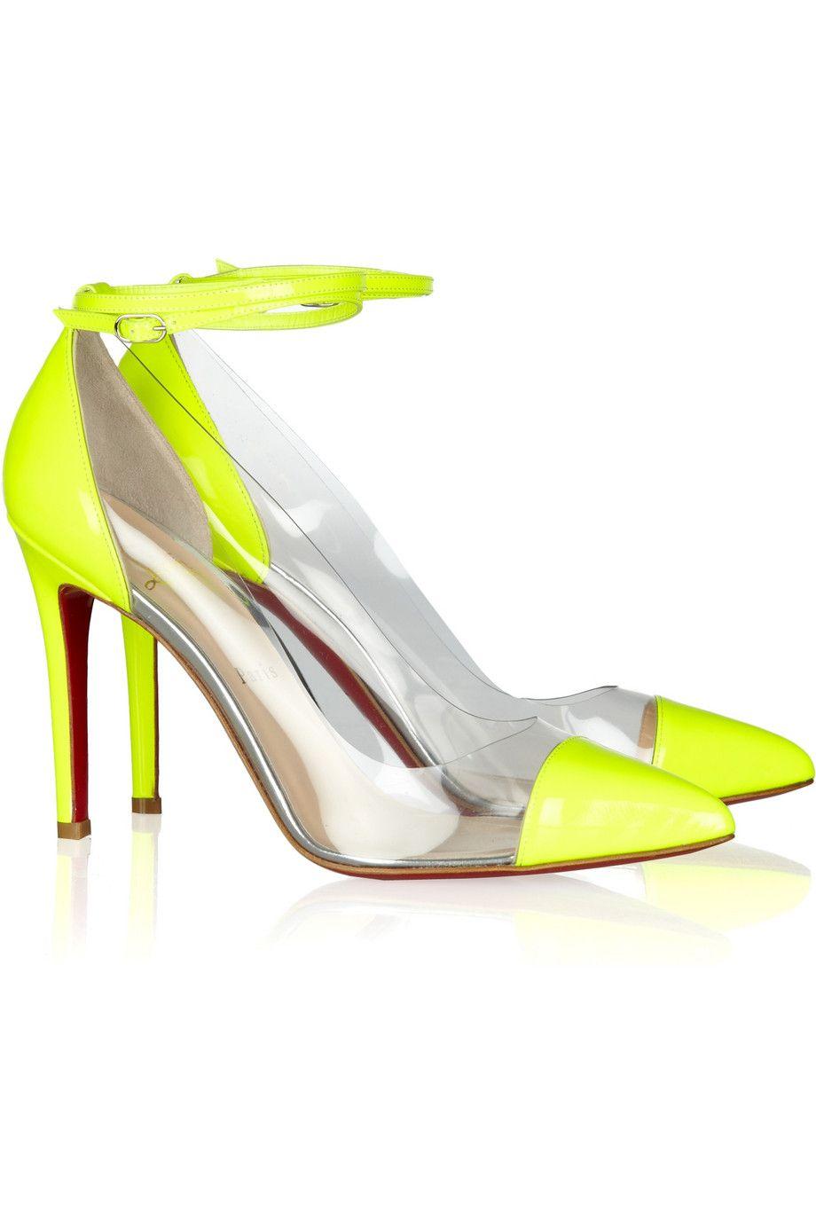 christian louboutin neon yellow patent pumps