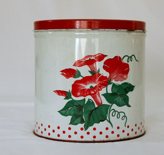 Old Tin LItho Kitchen Canister / Red Morning Glories..I've got one like this one..so cheerful!