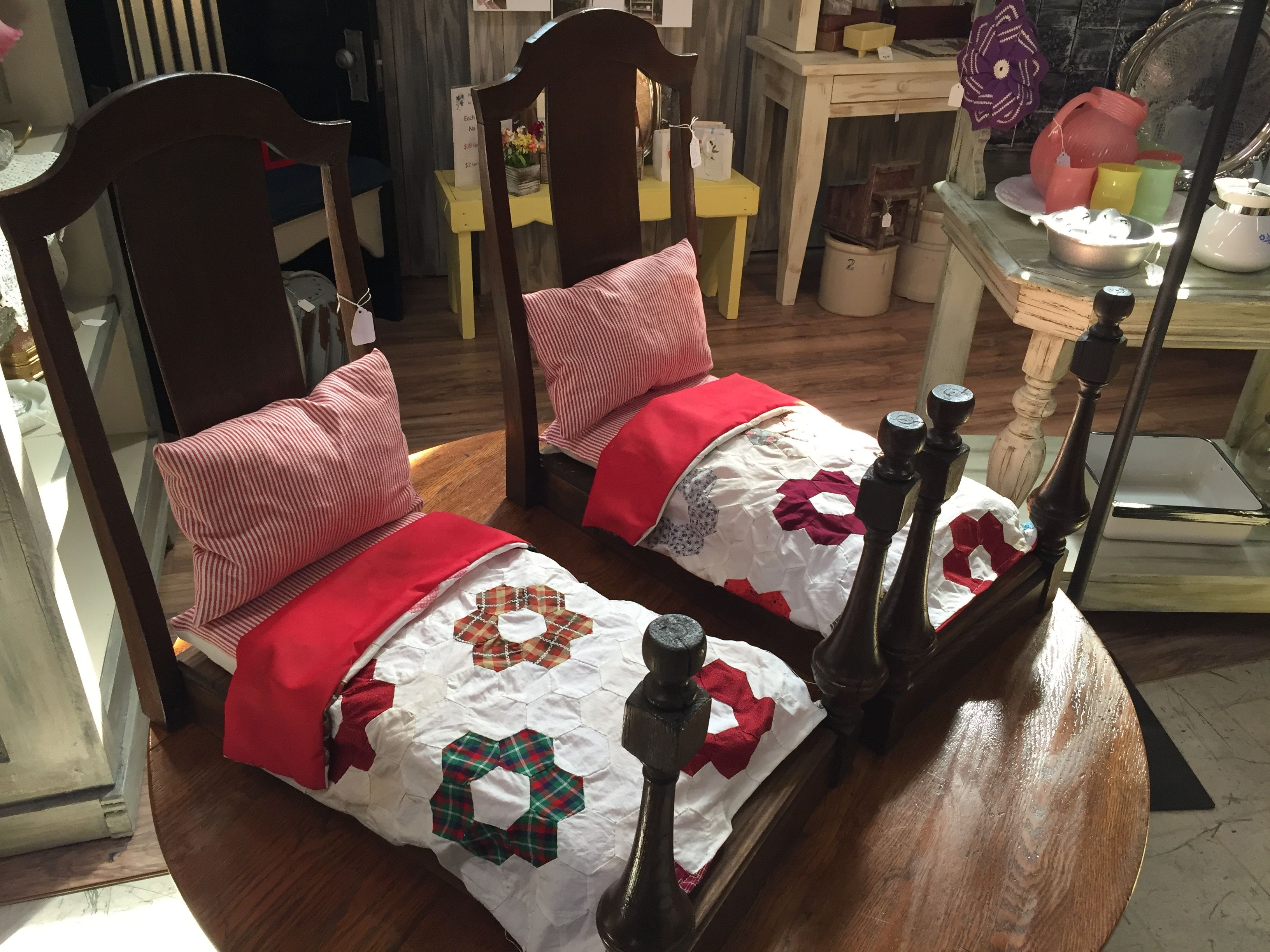 A Pair Of Cute Doll Beds Made Out Antique Dining Room Chairs Covers