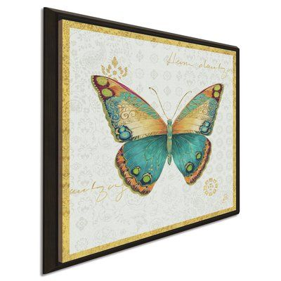 """Bungalow Rose 'Bohemian Wings Butterfly VIA' Acrylic Painting Print Format: Framed Canvas, Size: 27.5"""" H x 27.5"""" W x 2"""" D"""