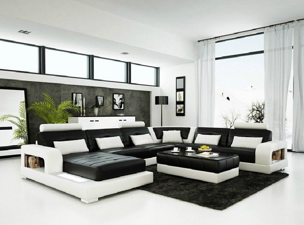 Divani Casa 6145 Modern Black and White Bonded Leather Sectional ...