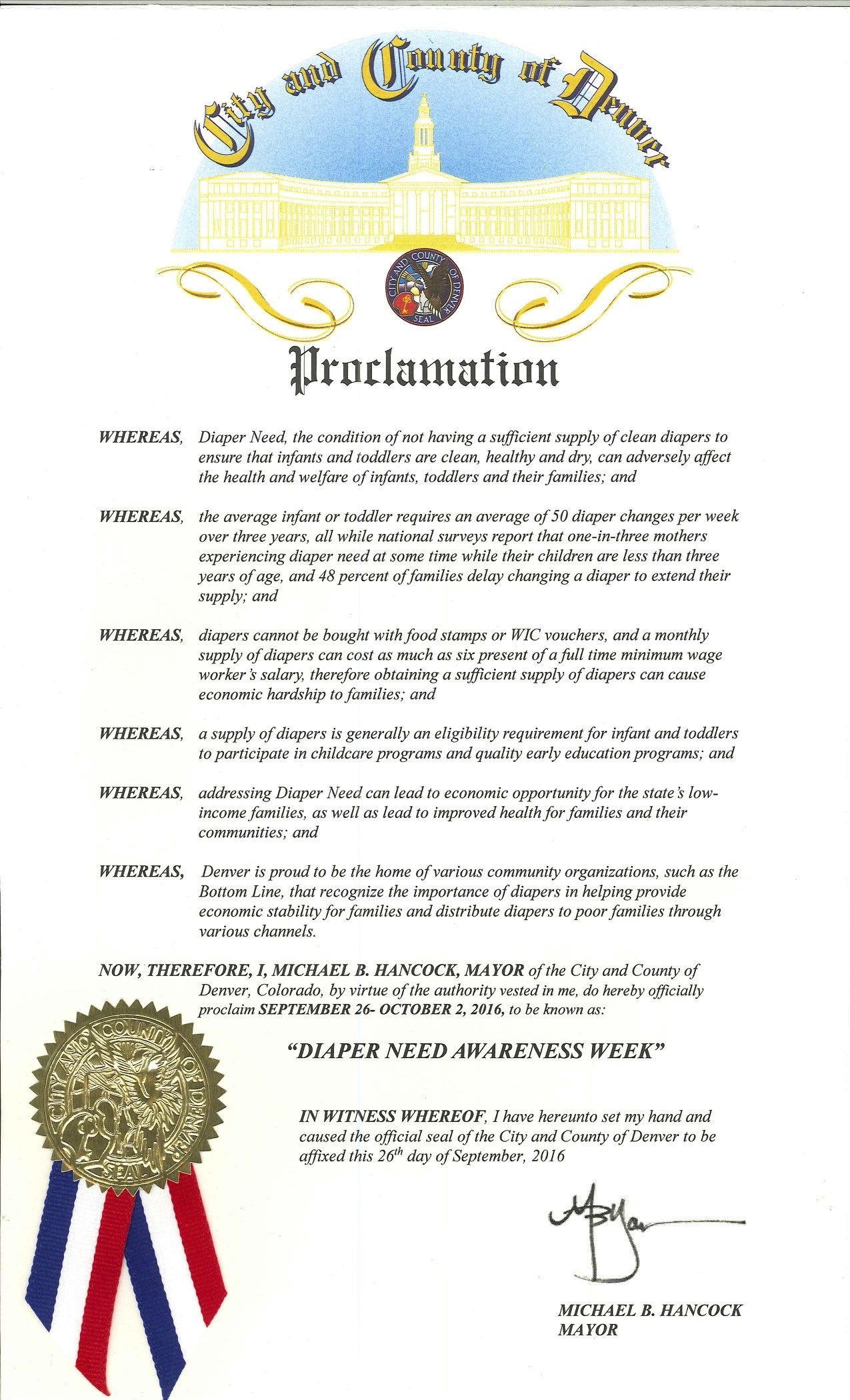 DENVER, CO - Mayoral proclamation recognizing Diaper Need Awareness Week (Sep. 26-Oct. 2, 2016) #DiaperNeed Diaperneed.org