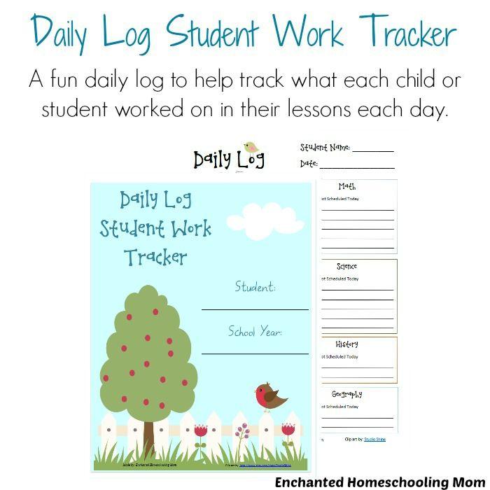 daily log student work tracker ultimate homeschool board
