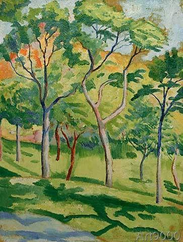 August Macke - Bäume in der Wiese