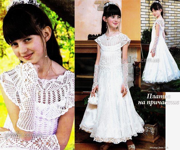 Вязаные платья для девочек со схемами и описанием фото