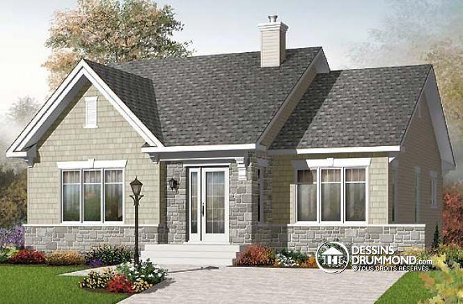 W3127 - Plan de maison de style champêtre, économique, 2 chambres
