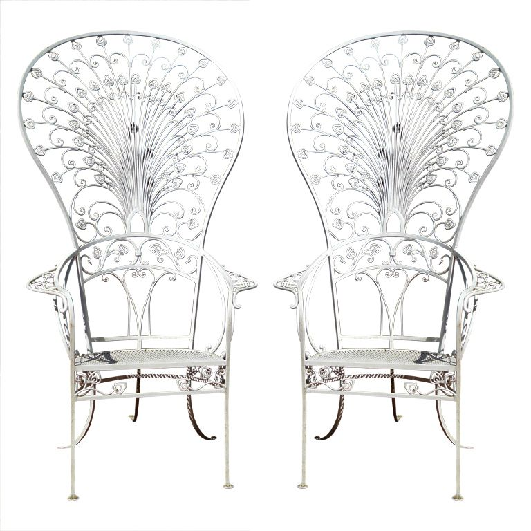 ♕ℛ. Amazing Wrought Iron Peacock Chairs by Salterini | Garden ...