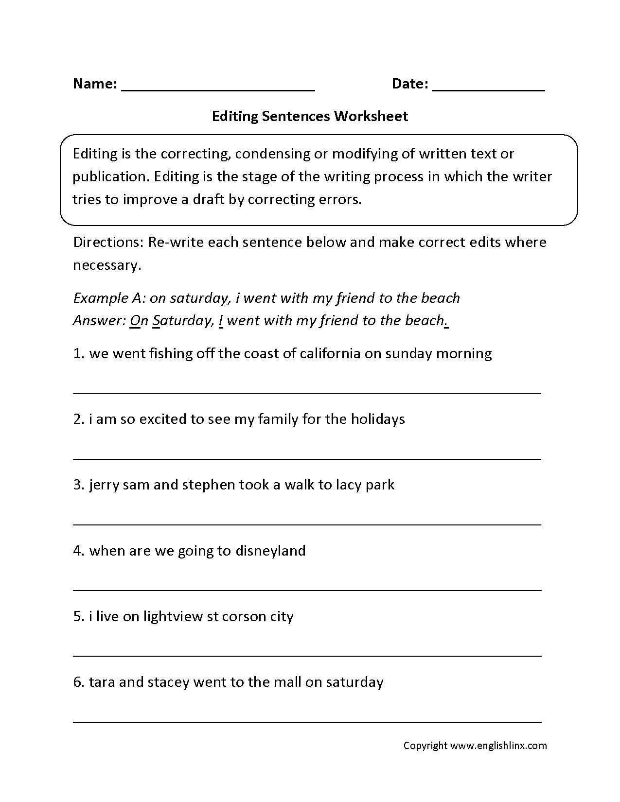 4 Editing Exercises For Class 8 Editing And Reading
